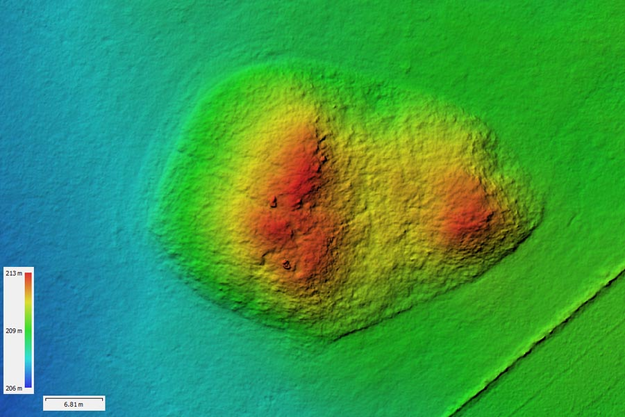 Digitales Gelände Modell eines überschütteten Bunkers bei Aachen (NRW).