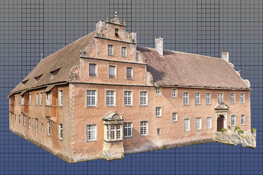 3D Modell eines Schlosses auf grundlage von Multikopter Aufnahmen.