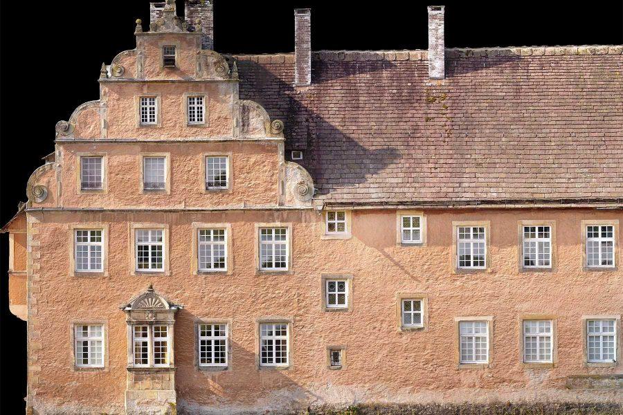 Orthophoto einer Schloss Fassade